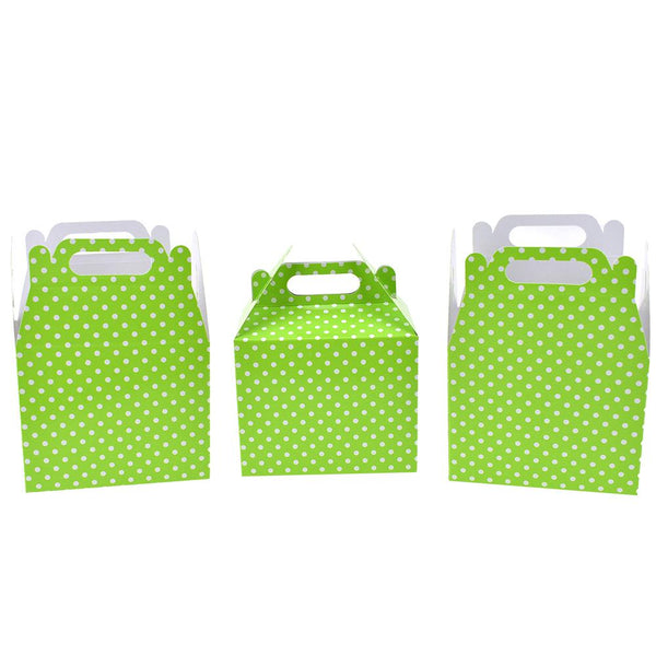 12-Pack, Polka Dot Patterned Party Favor Boxes, Light Green, 4-3/4-Inch, 3-Count