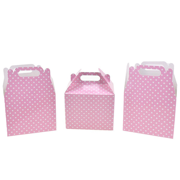 Polka Dot Patterned Party Favor Boxes, Light Pink, 4-3/4-Inch, 3-Count