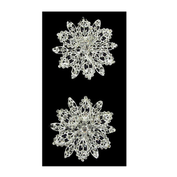 Bursting Flower Rhinestone Crystal Brooches, Silver, 2-1/2-Inch, 2-Piece