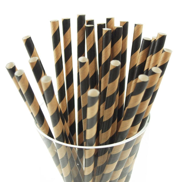 12-Pack, Candy Striped Paper Straws, 7-3/4-inch, 25-Piece, Black/Natural