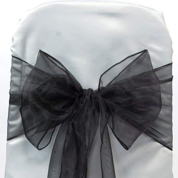 12-Pack, Organza Chair Bow Sash, 9-inch, 10-feet, 6-piece, Black