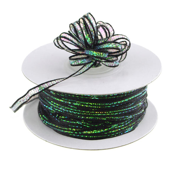 Iridescent Pull Bow Christmas Ribbon, 1/8-Inch, 50 Yards, Black