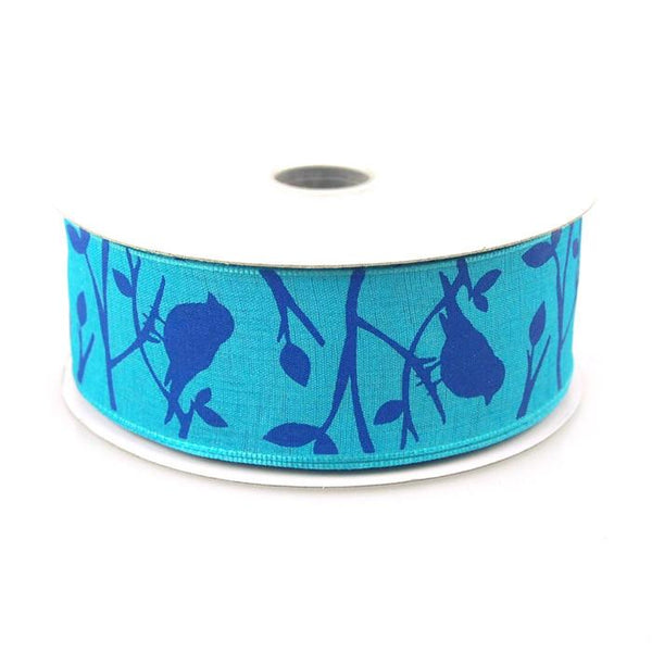 Birds Poly Ribbon Wired Edge, 1-1/2-Inch, 10 Yards, Blue