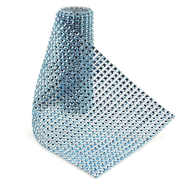 12-Pack, Rhinestone Mesh Wrap Roll, 4-3/4-Inch, 1 Yard, Light Blue