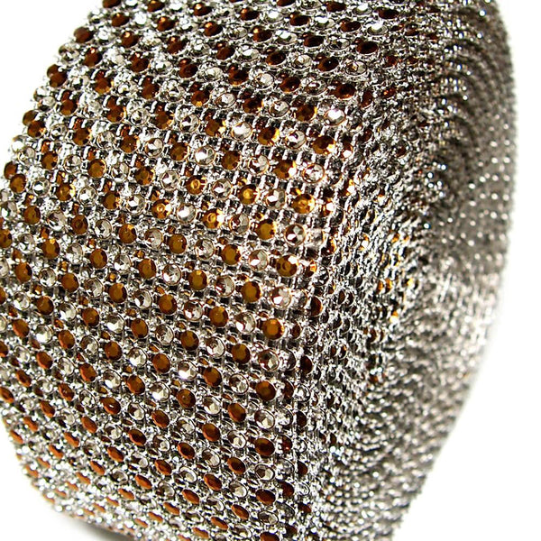12-Pack, Two Tone Rhinestone Diamond Mesh Wrap Ribbon, 2-1/2-inch, 10-yard, Brown