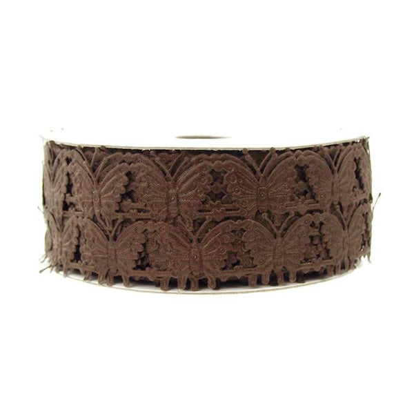 12-Pack, Butterfly Polyester Garland Ribbon, 1/2-inch, 10-yard, Brown