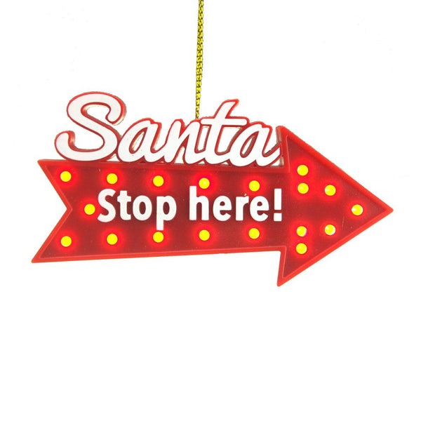 Santa Stop Here Christmas Ornament with Built-In Timer, Red, 4-Inch