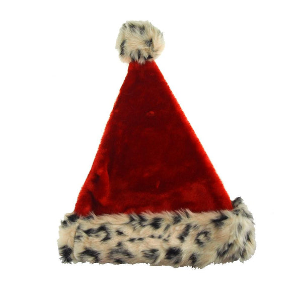 Red Felt Santa Hat With Leopard Fur Trim, 17-Inch