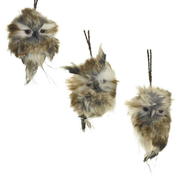 Furry Hanging Hoot Owl Christmas Ornaments, 4-Inch, 3-Piece
