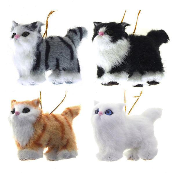 Plush Cat Christmas Tree Ornaments, 3-Inch, 4-Piece