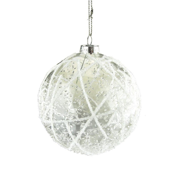 12-Pack, Christmas Clear Glass Ball With Icy White Beading, 4-Inch