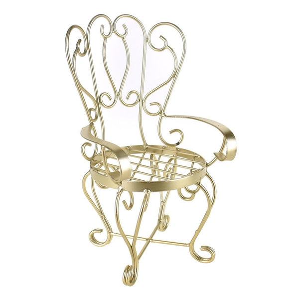 Metal Wire Antique Style Chair, Gold, 11-1/2-Inch