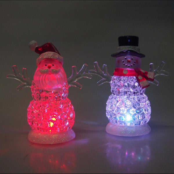 12-Pack, LED Color Changing Snowman and Santa Christmas Ornaments, 4-1/2-Inch, 2-Piece