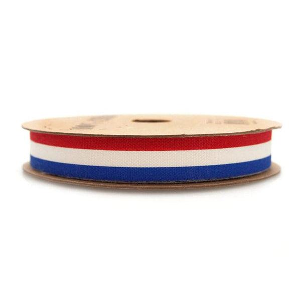 Red Royal Blue Striped Ivory Cotton Ribbon, 5/8-inch, 10-yard
