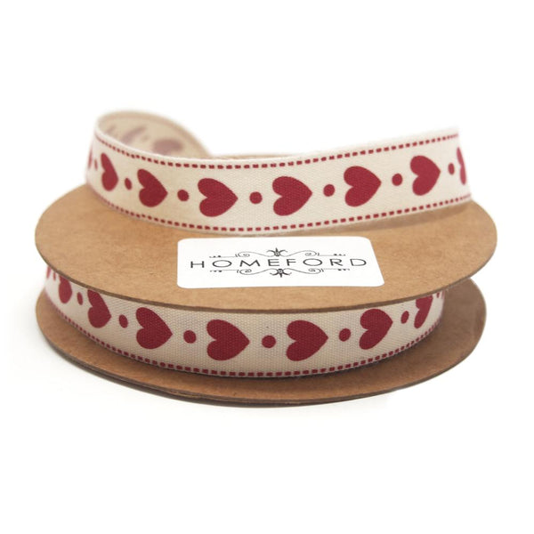 Red Heart Print Cotton Ribbon, 5/8-Inch, 10-Yard