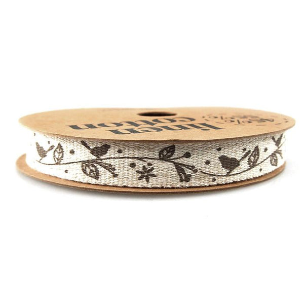 Brown Birds Print Cotton Linen Ribbon, 5/8-Inch, 10 Yards,