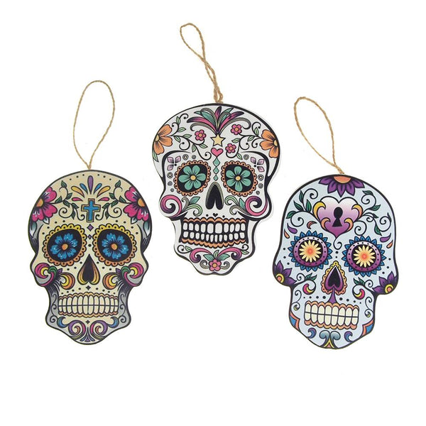 Wooden Skull Assorted Christmas Tree Ornaments 6 Inch 3 Piece