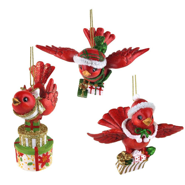 12-Pack, Set of 4 Flying Cardinal Bird Carrying Gifts Ornaments, Red, 3-1/2-Inch