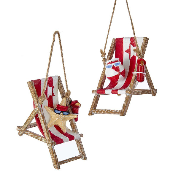 Lounging Starfish and Ball Beach Chair Christmas Ornaments, 2-Piece