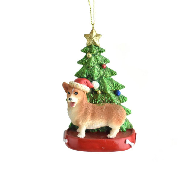 12-Pack, Santa Hat Corgi with Christmas Tree Ornament, 4-1/4-Inch