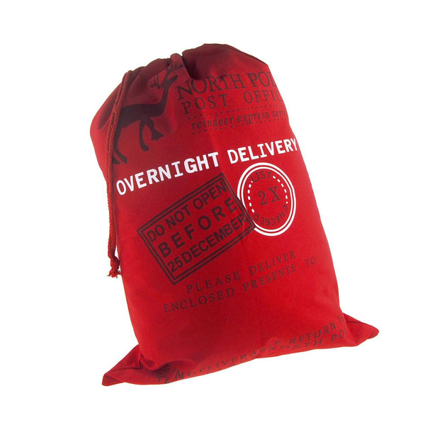 Christmas North Pole Overnight Delivery Santa Sack, Red, 27-Inch x 19-Inch