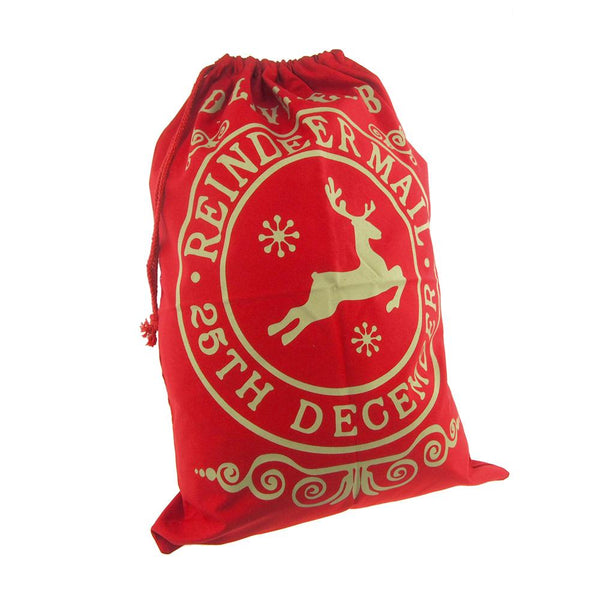 12-Pack, Christmas Delivered by Reindeer Santa Sack, Red, 27-Inch x 19-Inch