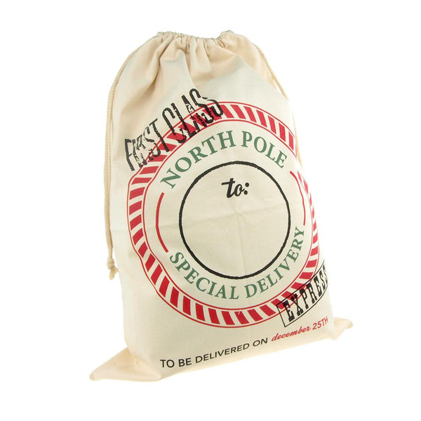 12-Pack, Christmas North Pole First Class Express Santa Sack, Ivory, 27-Inch x 19-Inch