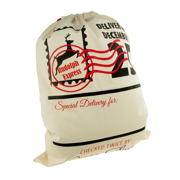 12-Pack, Christmas Rudolph Express Santa Sack, Ivory, 27-Inch x 19-Inch