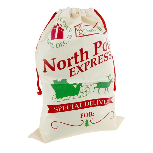 Christmas North Pole Express Special Delivery Santa Sack, Ivory, 27-Inch x 19-Inch