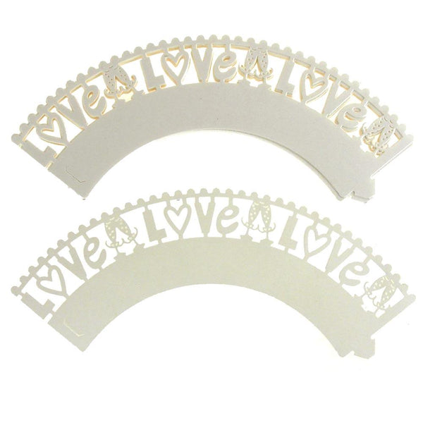 Love Paper Cupcake Wrap, 2-Inch, 12-Piece. Ivory