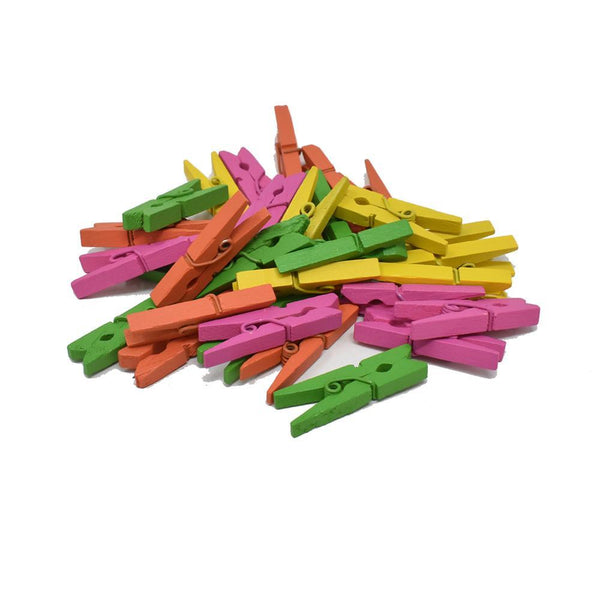 Mini Wood Clothespin Assortment, Neon, 1-1/8-Inch, 32-Piece