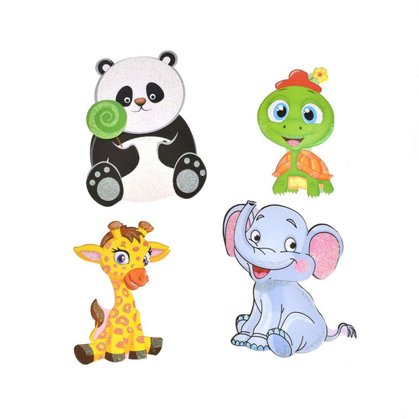 12-Pack, Baby Animal Pals 3D Glitter Pop-Up Wall Art Stickers, 4-Piece