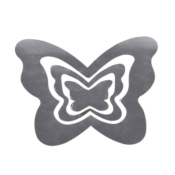 12-Pack, Butterflies Reflection Trios Removable Wall Art Stickers, Silver, 3-Piece