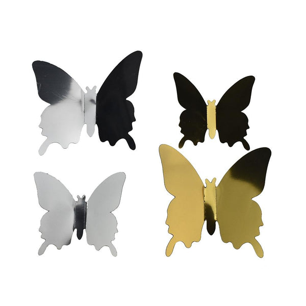 Metallic Butterfly Wall Stickers, Assorted Sizes, 4-Piece
