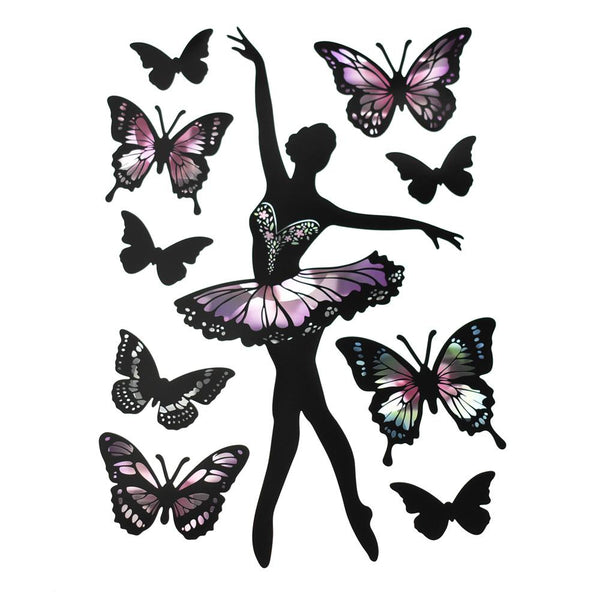 12-Pack, Holographic Removable Butterfly Ballerina Wall Art Stickers, 10-Piece