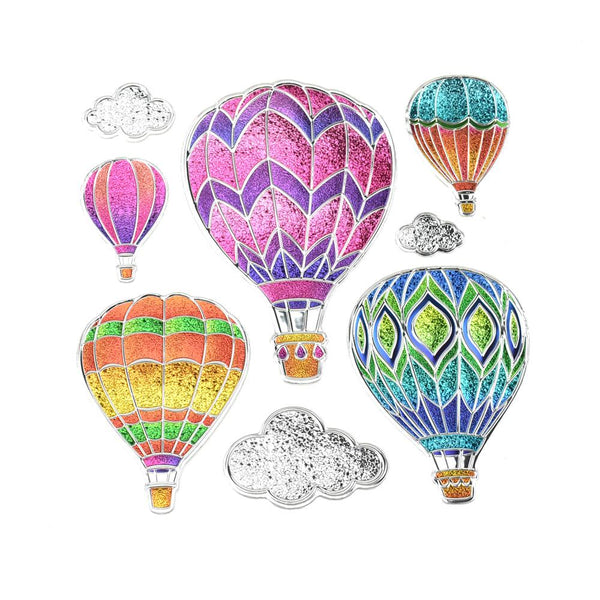 Spectacular Hot Air Balloon Glitter Sequin Wall Art Stickers, 8-Piece