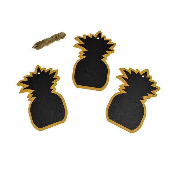Chalkboard Pineapple Wood Tags With Jute Cord, 3-1/2-Inch, 3-Count