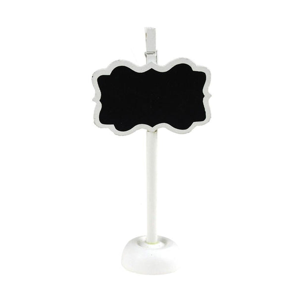 Chalkboard Wooden Card Holder, Bracket w/ Border, 4-1/2-Inch, White