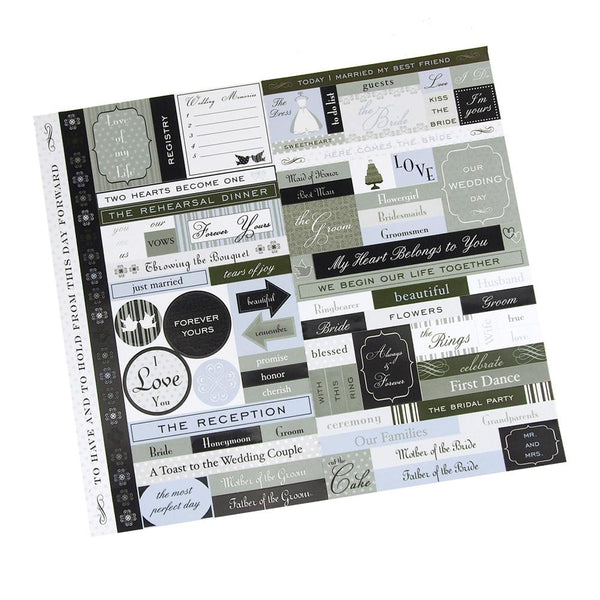 Marriage Fresh Verse Card-stock Stickers, Black/White, 10-Inch