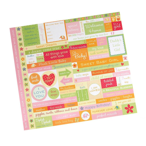 Baby Girl Fresh Verse Card-stock Stickers, Assorted Color, 10-Inch