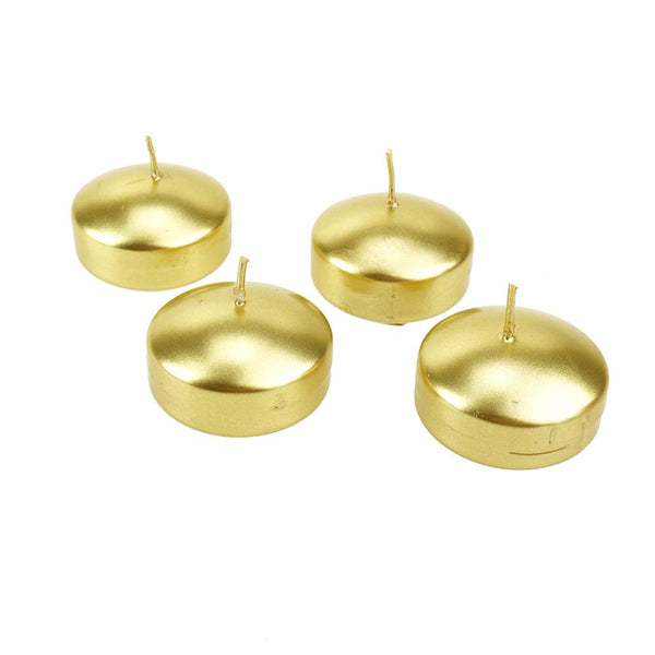 Metallic Floating Disc Unscented Candles, 3-Inch, 4-Count, Gold