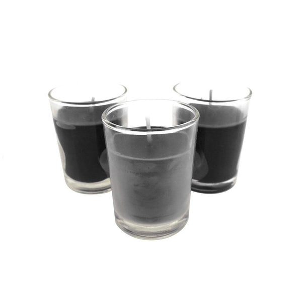 Unscented Poured Votive Glass Container Candles, 1-3/4-Inch, 12-Count, Black