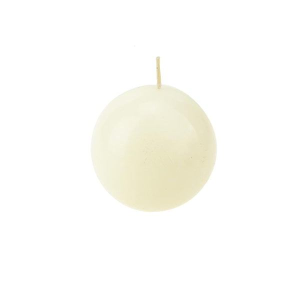 Mega Round Ball Unscented Candle, 3-Inch, Ivory