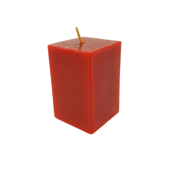 Rectangular Unscented Pillar Candle, 3-Inch, Red