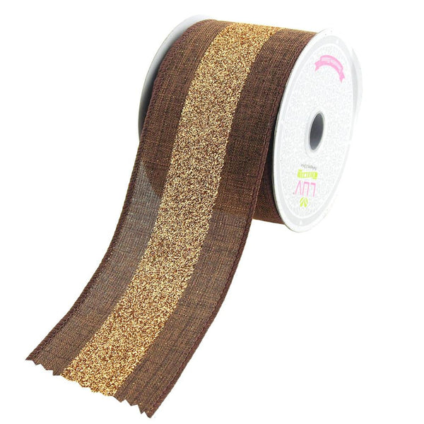 12-Pack, Glitter Center Canvas Ribbon, 2-1/2-Inch, 10 Yards, Brown/Gold