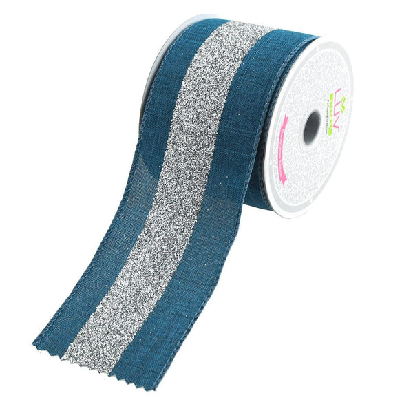 12-Pack, Glitter Center Canvas Ribbon, 2-1/2-Inch, 10 Yards, Denim/Silver
