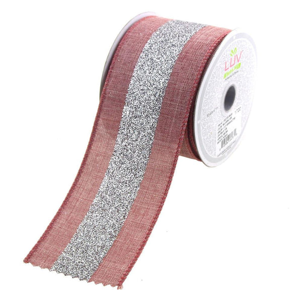 12-Pack, Glitter Center Canvas Ribbon, 2-1/2-Inch, 10 Yards, Mauve/Silver