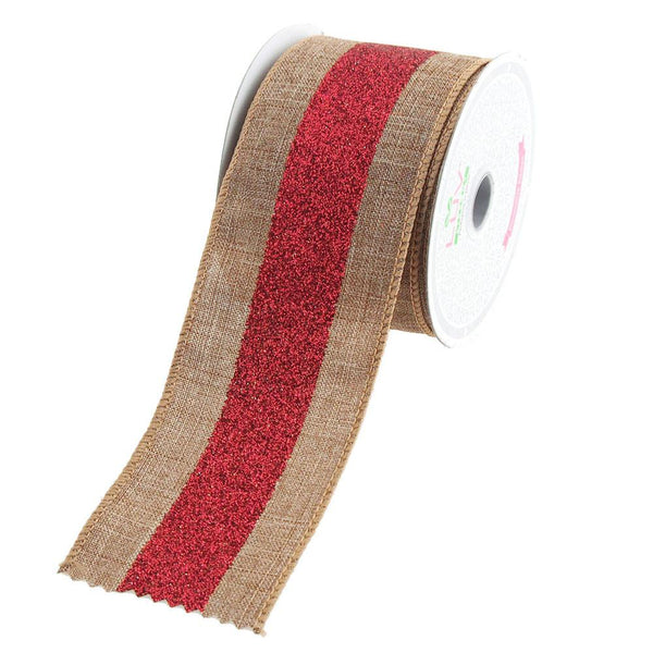 12-Pack, Glitter Center Canvas Ribbon, 2-1/2-Inch, 10 Yards, Toffee/Red