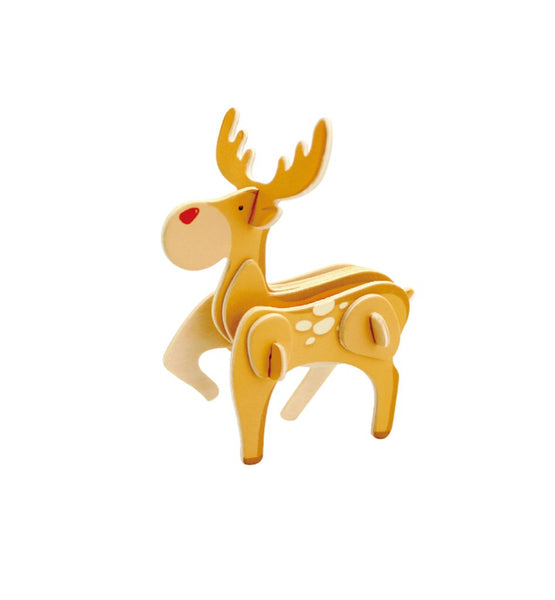 12-Pack, DIY Reindeer Painted Wooden Christmas Puzzle, 3-1/2-Inch