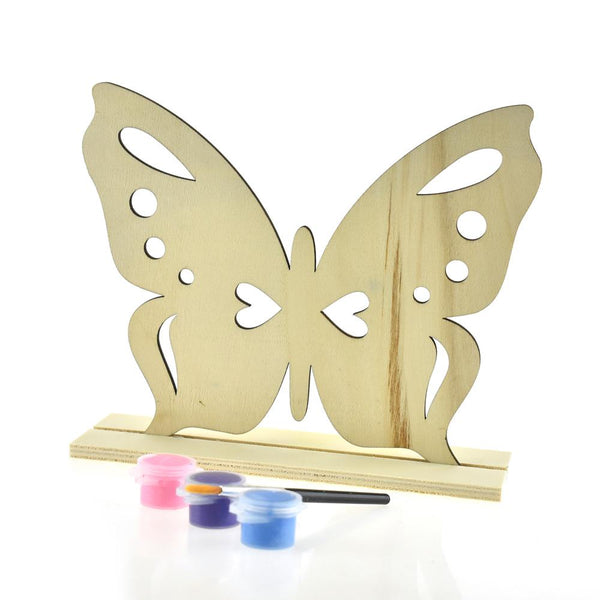 12-Pack, DIY Butterfly Wood Stand-Up Crafty Kids Kit, Natural, 7-Inch